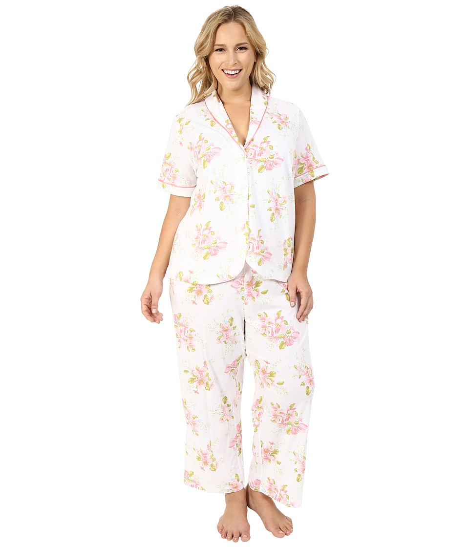 Carole Hochman - Plus Size Floral Cotton Capris Pajama (Magnolia Blossom) Women's Pajama Sets plus size,  plus size fashion plus size appare