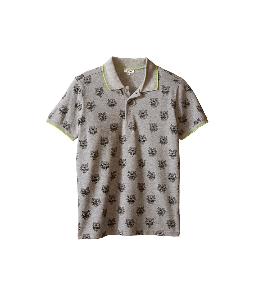 Kenzo Kids All Over Tiger Polo Shirt Little Kids/Big Kids Grey Chine Boys Clothing