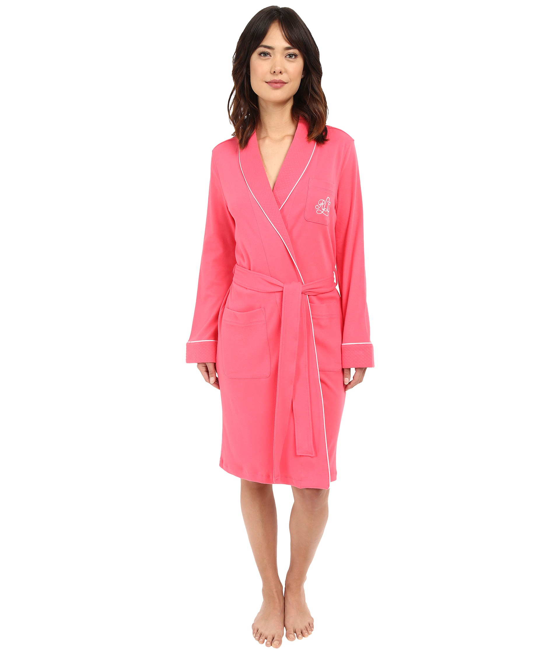 lauren ralph lauren essentials quilted collar and cuff robe coral free shipping. Black Bedroom Furniture Sets. Home Design Ideas