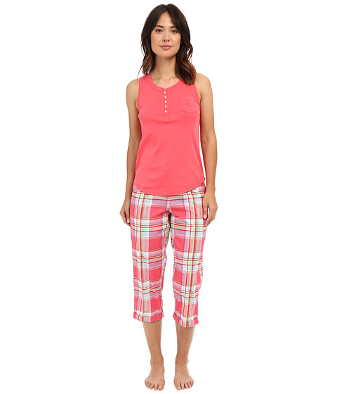 LAUREN Ralph Lauren Knit Top Woven Capri PJ Set - Plaid Red/Multi