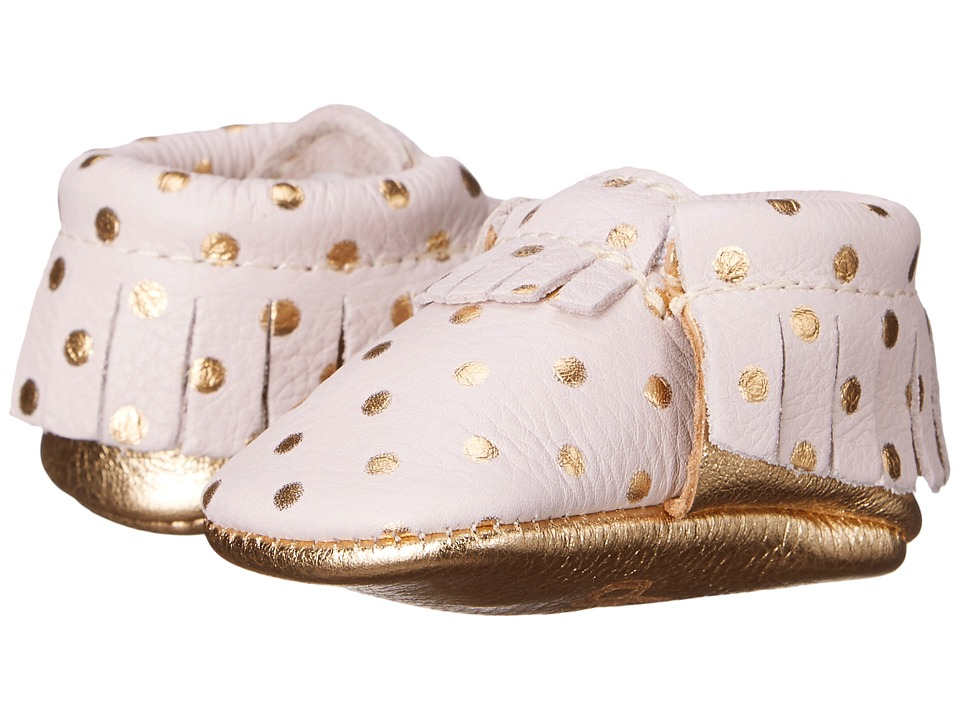 Freshly Picked Newborn Moccasins Infant Petite Heirloom in Blush/Gold Girls Shoes
