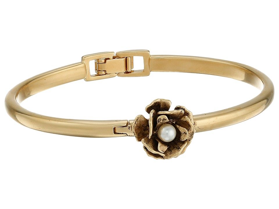 Marc Jacobs Flower Hinge Cuff Bracelet Cream/Antique Gold Bracelet