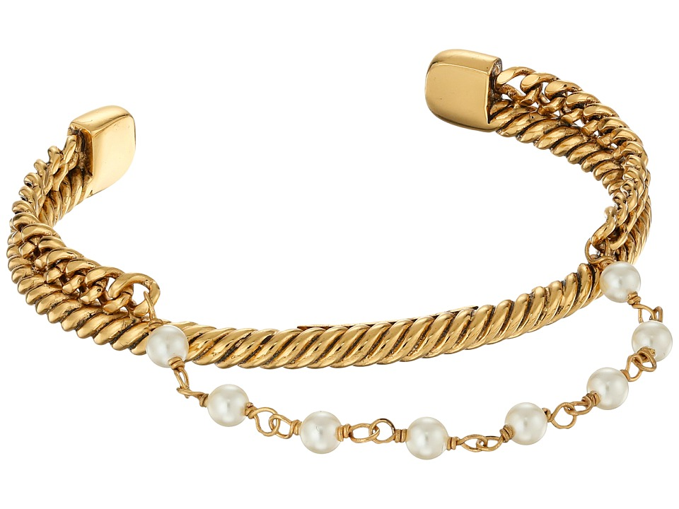 Marc Jacobs - Pearl Hanging Chain Cuff Bracelet (Cream/Antique Gold) Bracelet