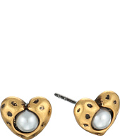 Marc Jacobs - Hammered Heart Stud with Pearl Earrings