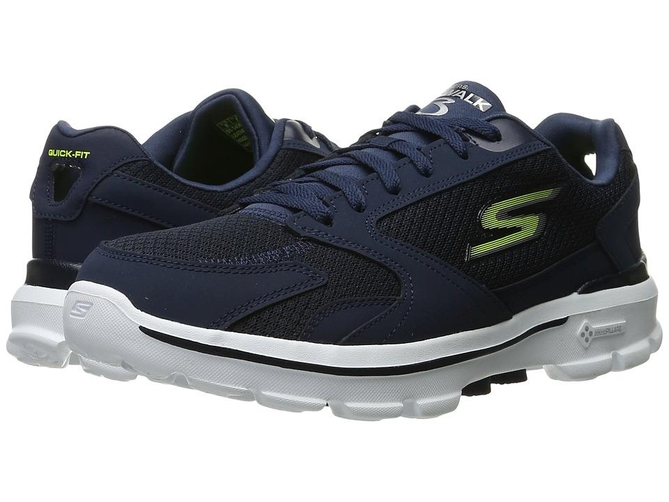SKECHERS Performance Go Walk 3 (Navy/Lime) Men