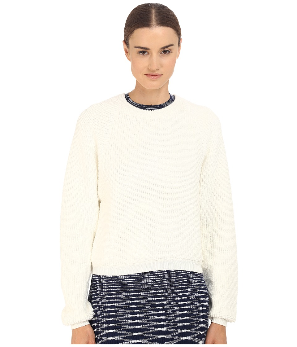 See by Chloe Knit Pullover with Back Zipper Off White Womens Long Sleeve Pullover