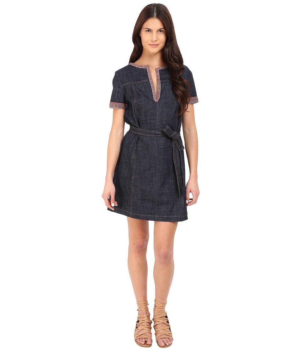 See by Chloe Embellished Denim Short Sleeve Dress Indigo Womens Dress