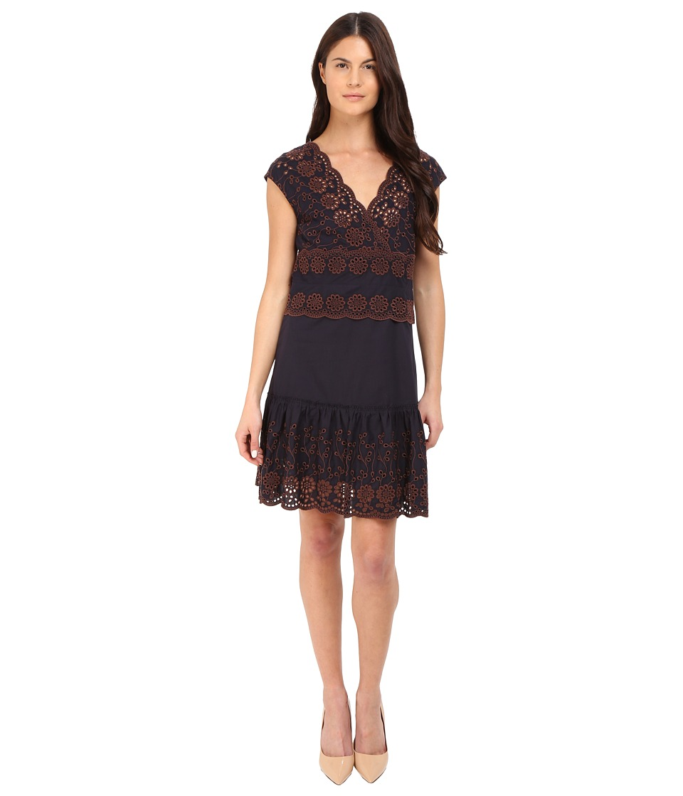 See by Chloe Embroidered V Neck Dress Dark Navy Womens Dress