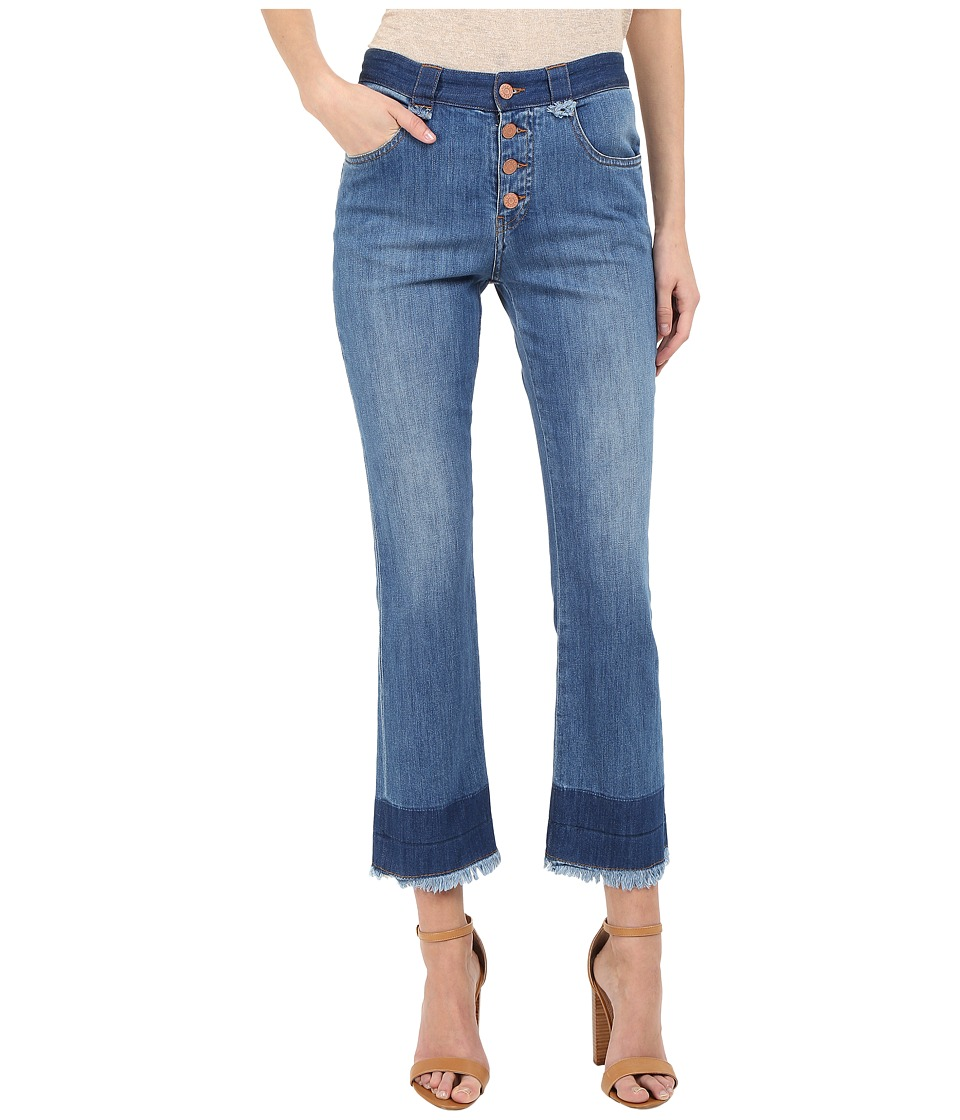 See by Chloe Stoned Denim Frayed Edge Jeans Washed Indigo Womens Jeans