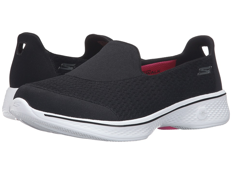 SKECHERS Performance - Go Walk 4 - Pursuit (Black/White) Womens Slip on  Shoes