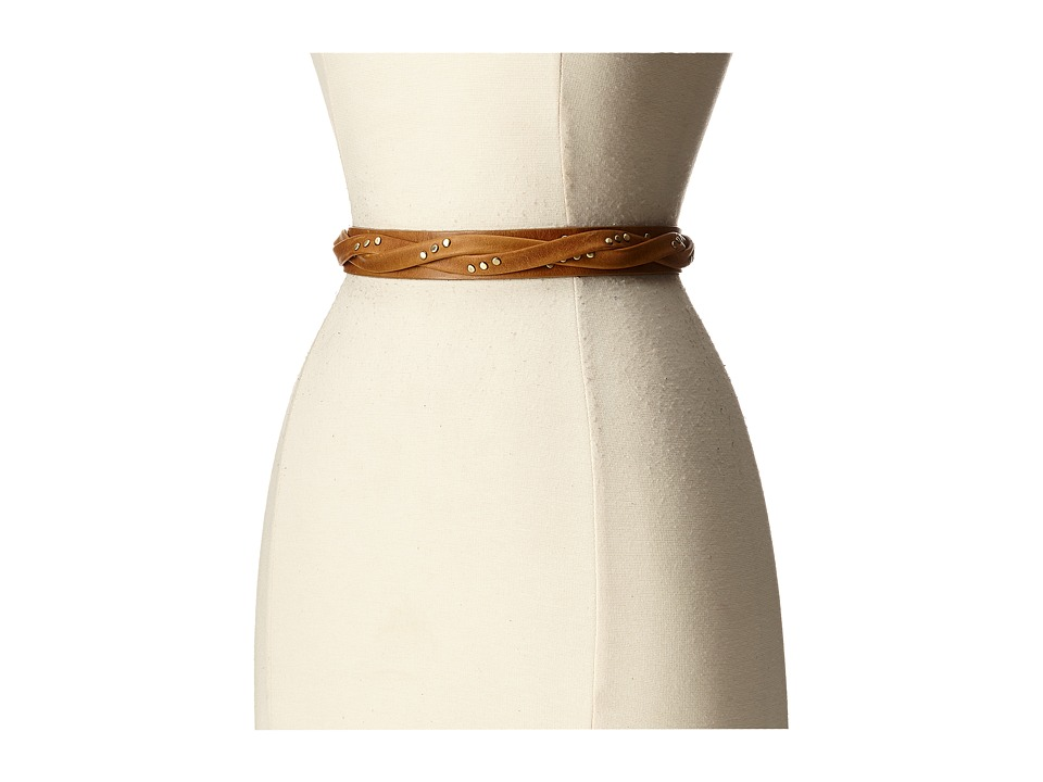 ADA Collection Skinny Wrap Belt with Rivets Tan Womens Belts
