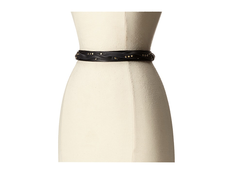 ADA Collection Skinny Wrap Belt with Rivets Black Womens Belts
