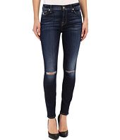 7 For All Mankind - The Ankle Skinny with Knee Holes in Mykonos Dark Indigo 3