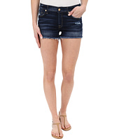 7 For All Mankind - Cut Off Shorts with Distress in Mykonos Dark Indigo