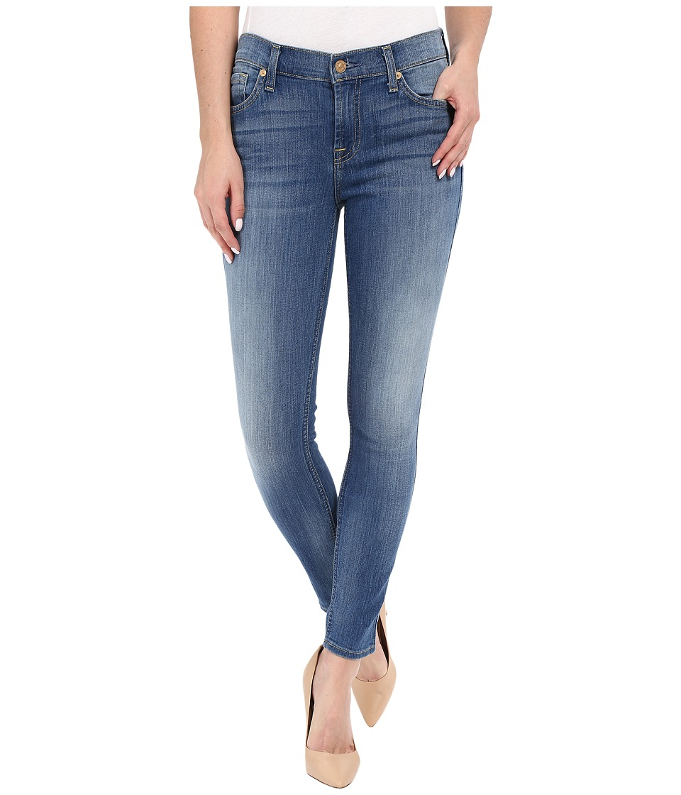 7 For All Mankind The Ankle Skinny with Contrast Squiggle in Supreme Vibrant Blue (Supreme Vibrant Blue) Women