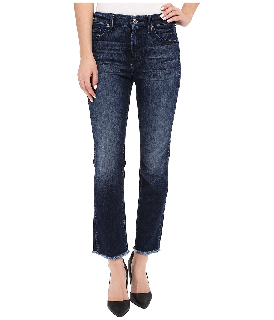 7 For All Mankind High Waist Ankle Straight with Raw Hem in Acropolis Deep Sky Acropolis Deep Sky Womens Jeans
