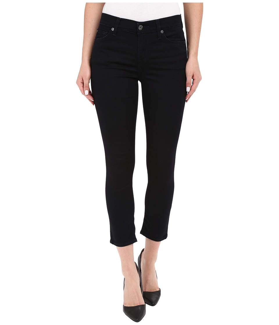 7 For All Mankind The Capris with Tonal Squiggle in Featherweight Blackest Blue Featherweight Blackest Blue Womens Jeans