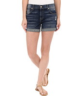 7 For All Mankind - Relaxed Mid Roll Up Shorts with Distress in Crete Island