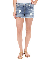 7 For All Mankind - Raw Edge WB Cut Off Shorts with Destroy in Santorini Light Aqua