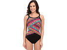 Night Lights Color Block High Neck One-Piece
