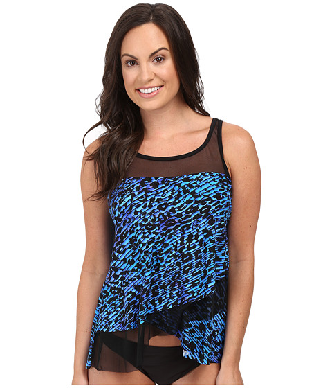 Miraclesuit - Purr-Fection Mirage Layered Tankini Top (Blue) Women's Swimwear