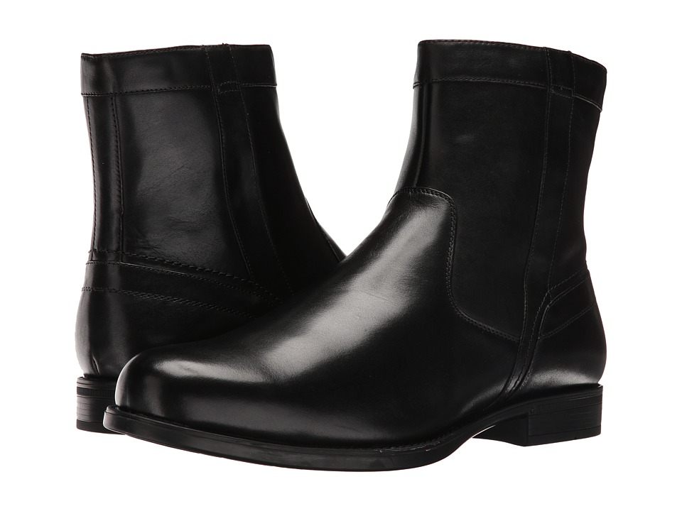 Florsheim Midtown Plain Toe Zip Boot (Black Smooth) Men