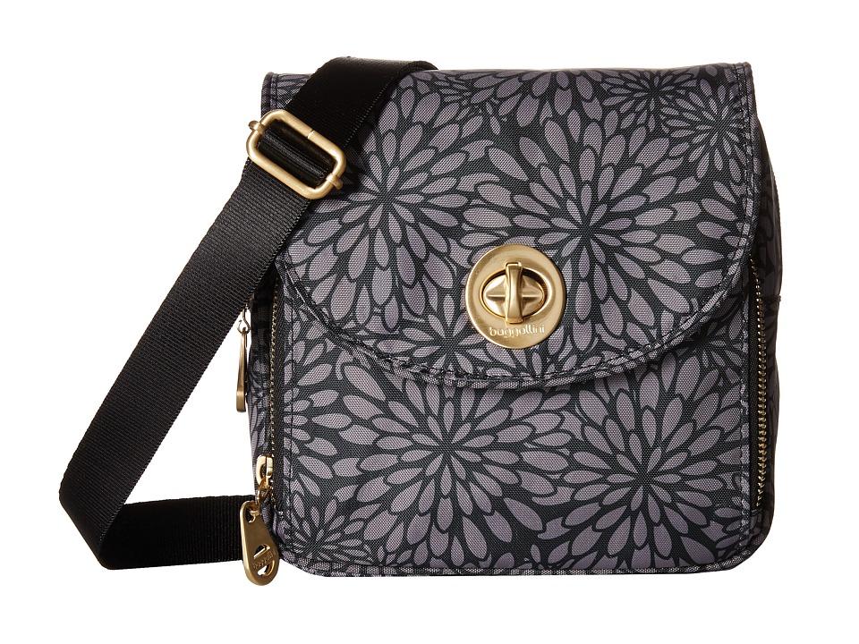 Baggallini Kensington Mini Pewter Floral Cross Body Handbags