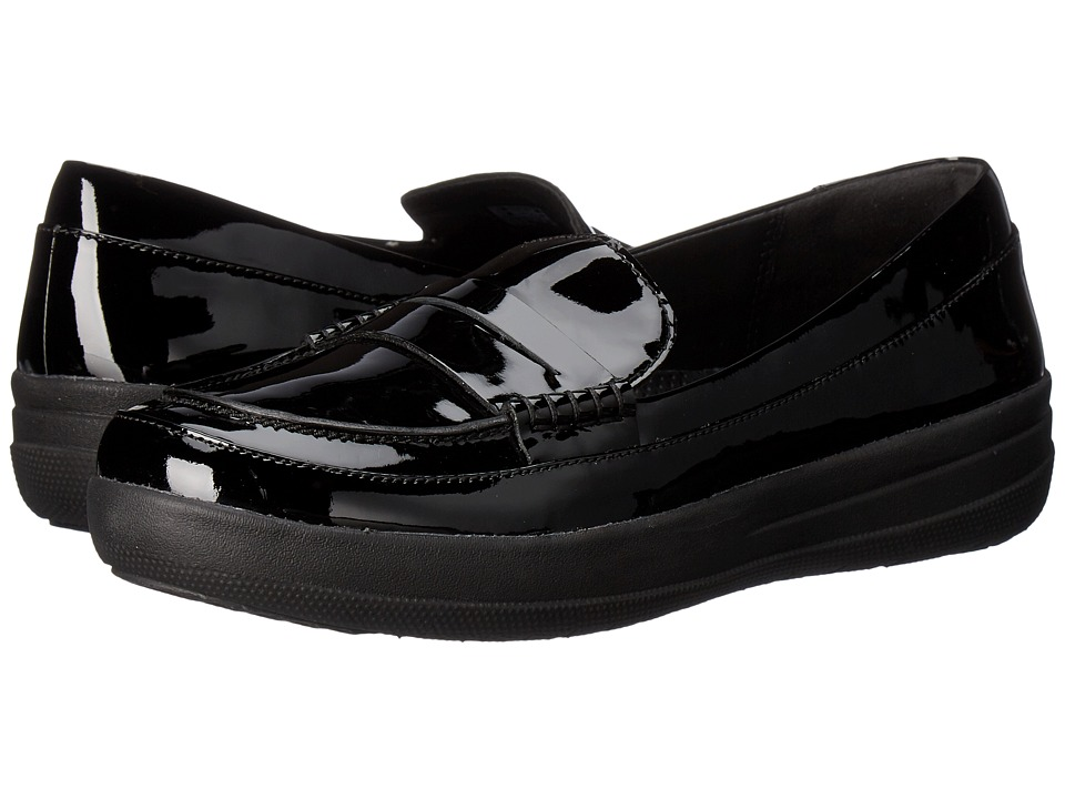 FitFlop Sporty Leather Penny Loafers (Black) Women