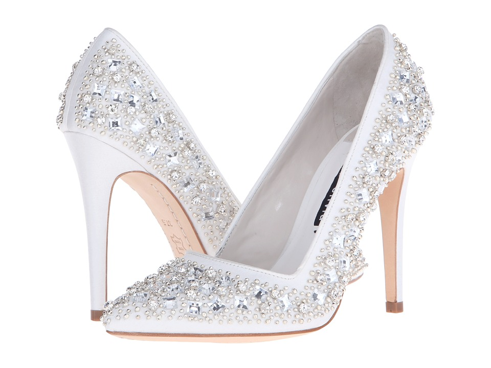 Alice Olivia Dina Three Clear Crystal Cluster/Ivory Satin High Heels