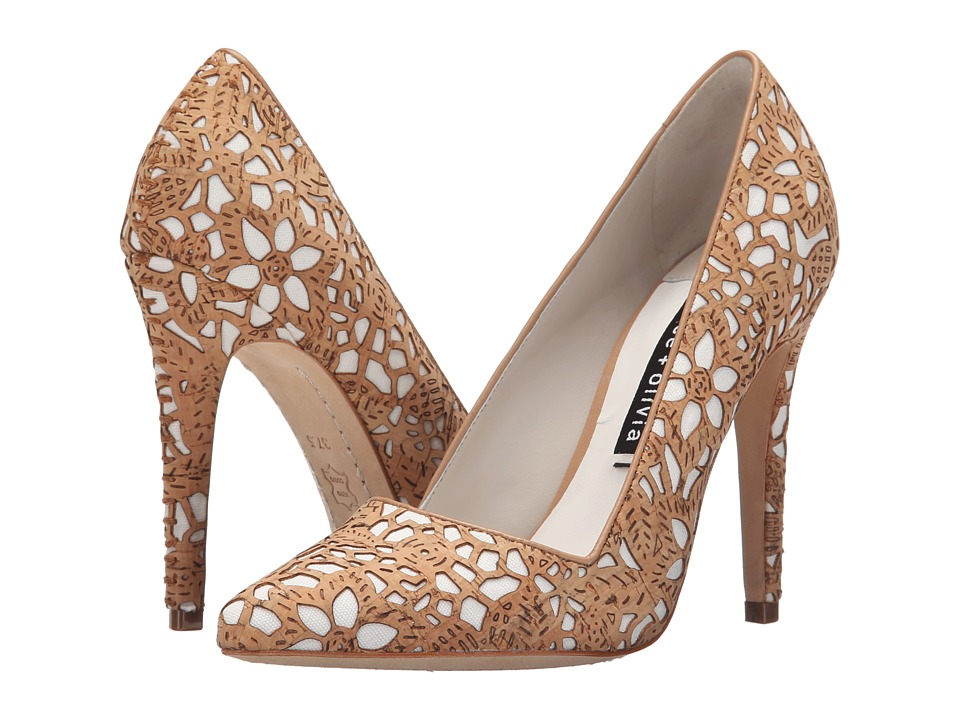 Alice Olivia Dina Three Natural Laser Cut Cork/Ivory Canvas High Heels