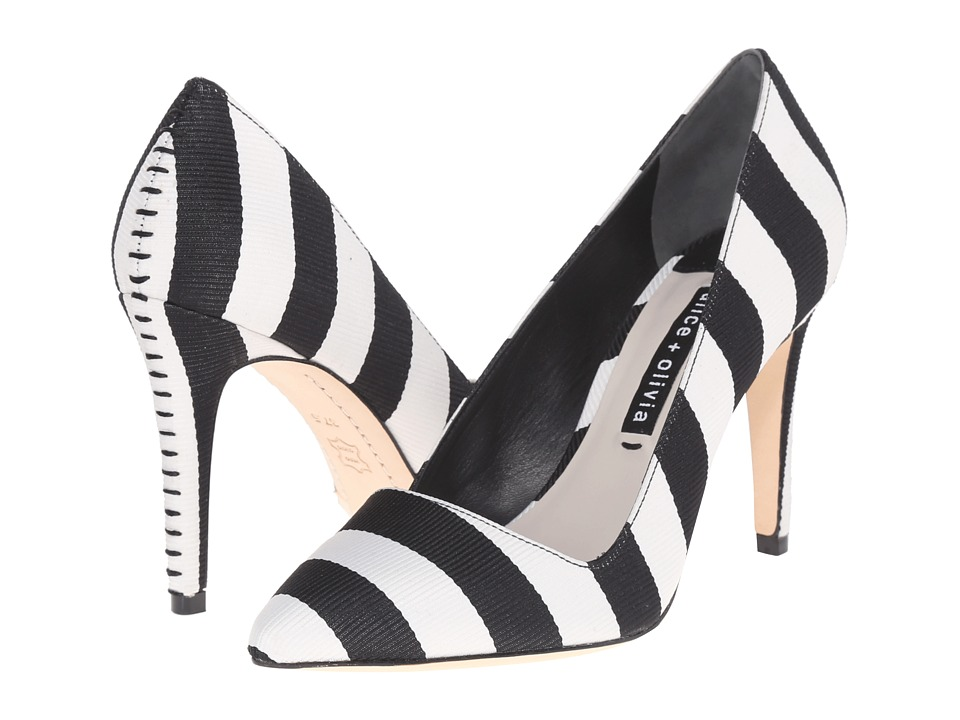 Alice Olivia Dina 95 Black/White Stripe Grosgrain Womens Shoes