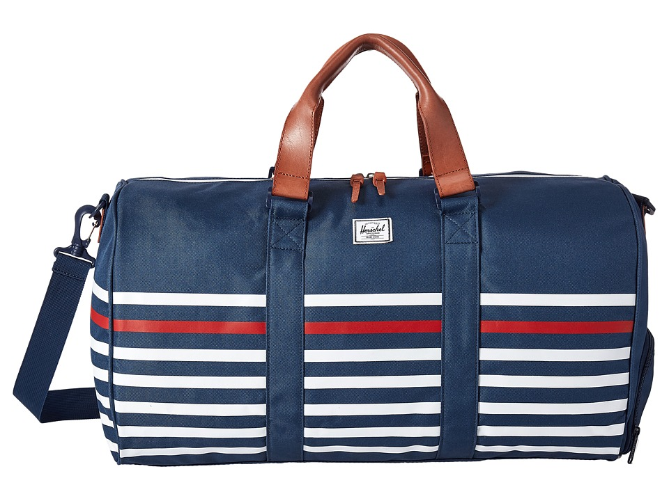 Herschel Supply Co. - Novel (Navy Offset Stripe/Veggie Tan Leather) Duffel Bags
