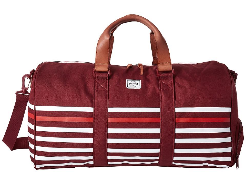 Herschel Supply Co. - Novel (Windsor Wine Offset Stripe/Veggie Tan Leather) Duffel Bags