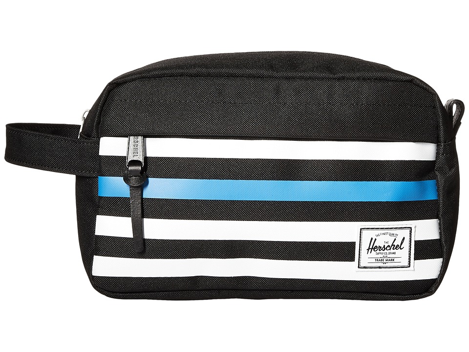 Herschel Supply Co. - Chapter (Black Offset Stripe/Black Veggie Tan Leather) Toiletries Case