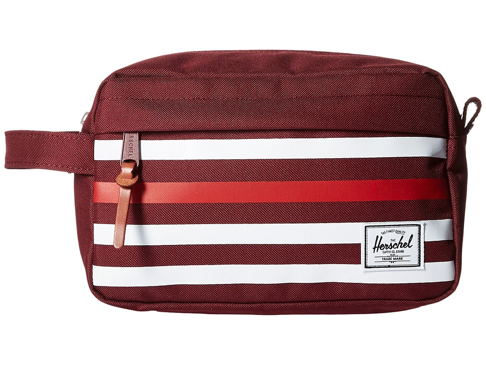Herschel Supply Co. - Chapter (Windsor Wine Offset Stripe/Veggie Tan Leather) Toiletries Case