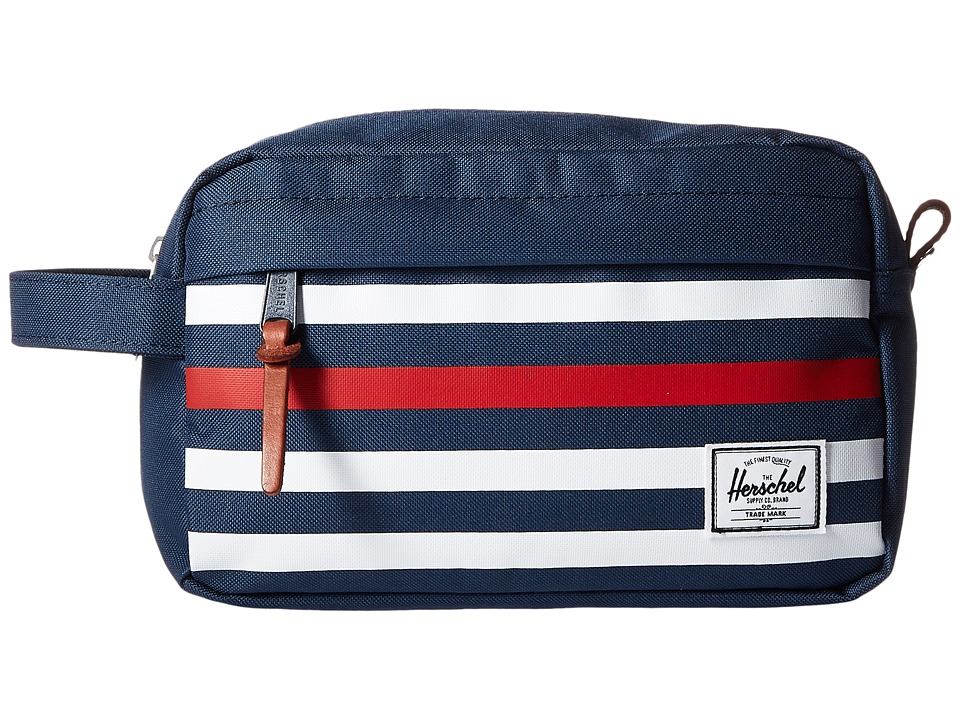 Herschel Supply Co. - Chapter (Navy Offset Stripe/Veggie Tan Leather) Toiletries Case