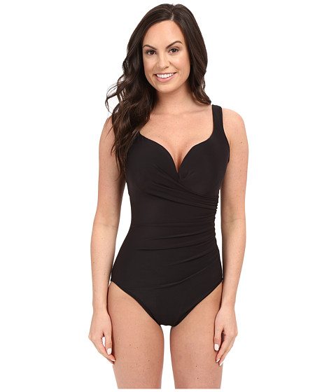 Miraclesuit - Solid Wraptress One-Piece (Black) Women's Swimsuits One Piece