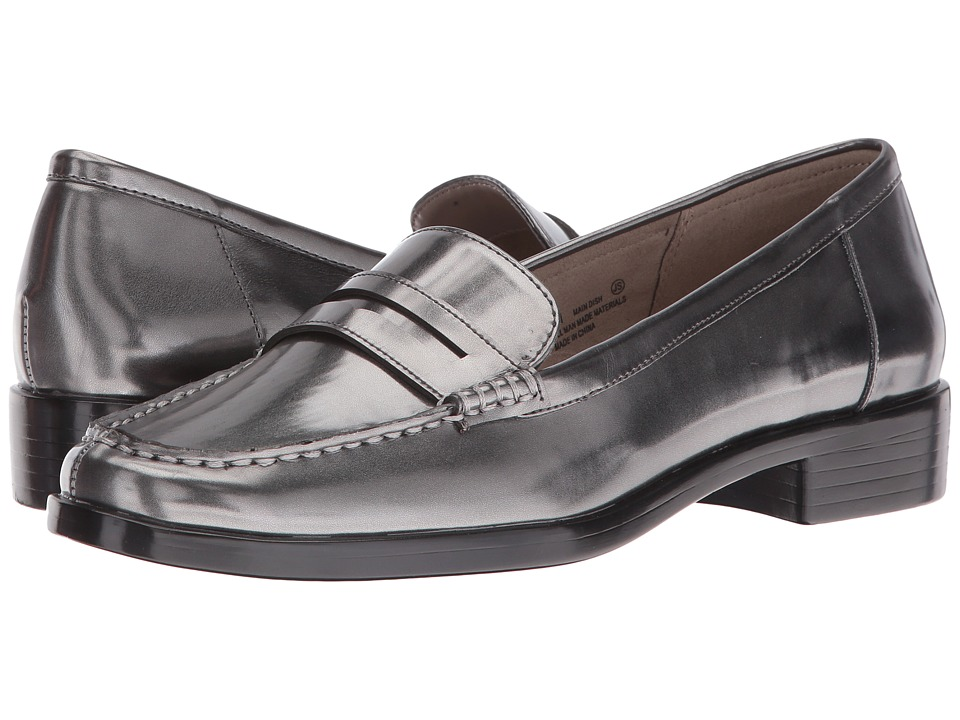 Retro Vintage Flats and Low Heel Shoes Aerosoles - Main Dish Dark Silver Metal Womens Slip-on Dress Shoes $89.00 AT vintagedancer.com