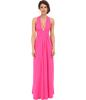 JILL JILL STUART - Deep V-Side Cut Out 2-Ply Crepe Gown