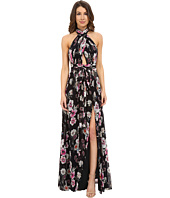 JILL JILL STUART - Collar Neck Front Cut Out Crinkle Chiffon Gown
