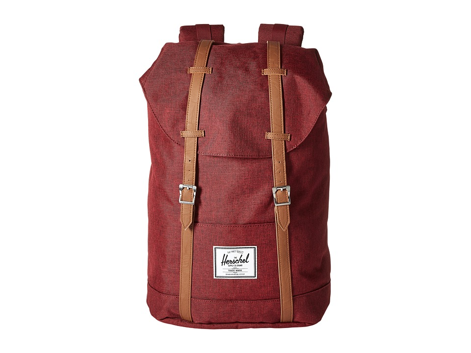 Herschel Supply Co. - Retreat (Wine Tasting Crosshatch/Tan Synthetic Leather) Backpack Bags