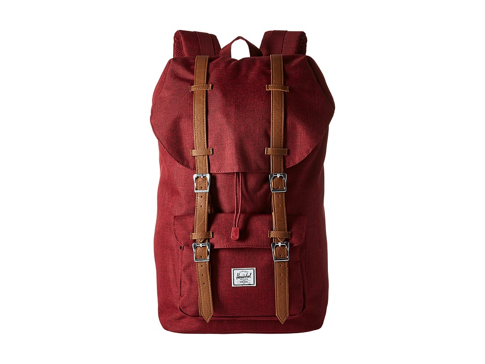 Herschel Supply Co. - Little America (Wine Tasting Crosshatch/Tan Synthetic Leather) Backpack Bags