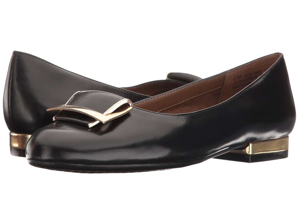 Aerosoles - Good Times (Black Leather) Womens Flat Shoes
