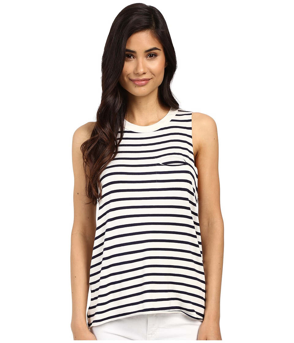 Project Social T Beatrice Pocket Stripe Tank Top Navy/White Womens Sleeveless