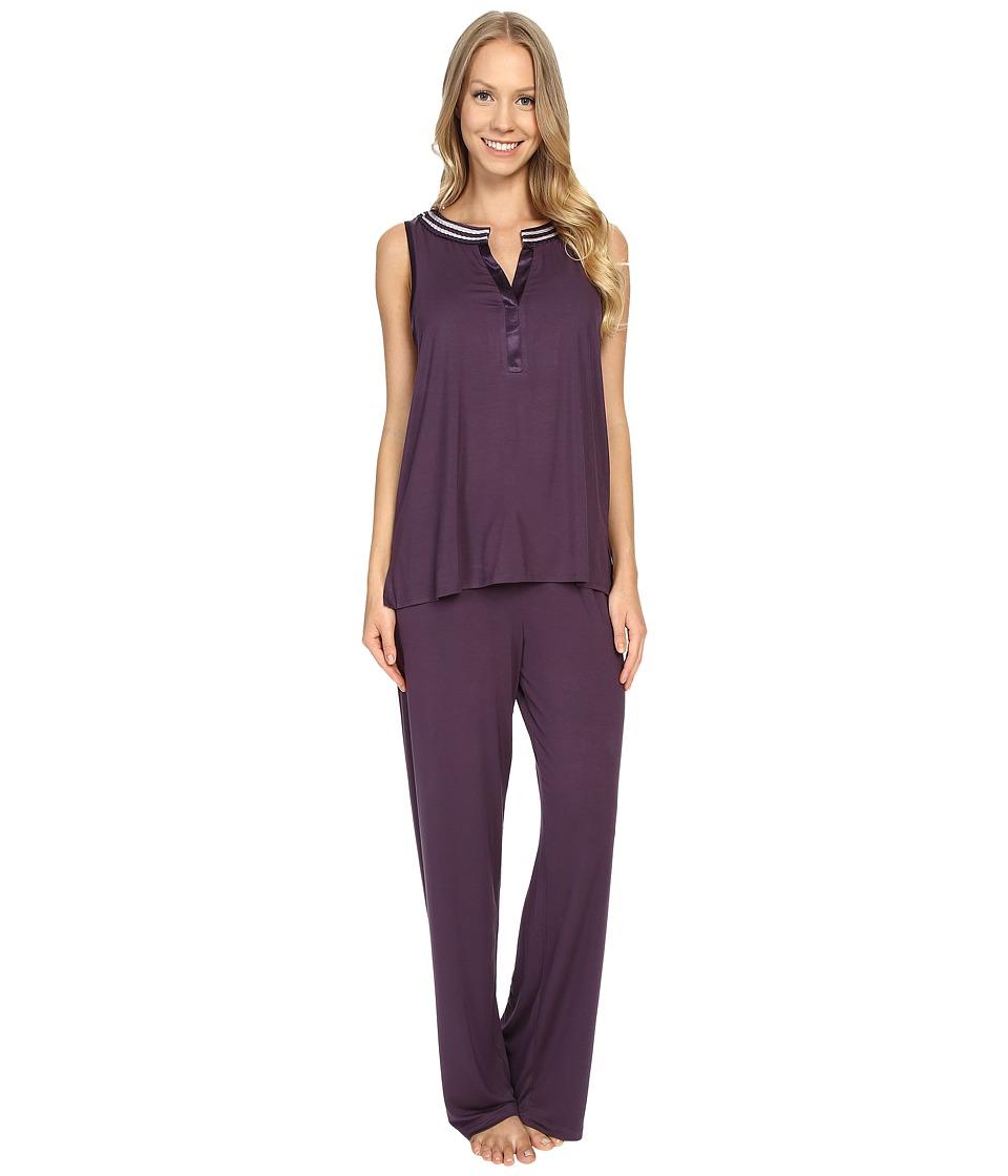 Midnight by Carole Hochman Pajama with Scallop Trim Eggplant Womens Pajama Sets
