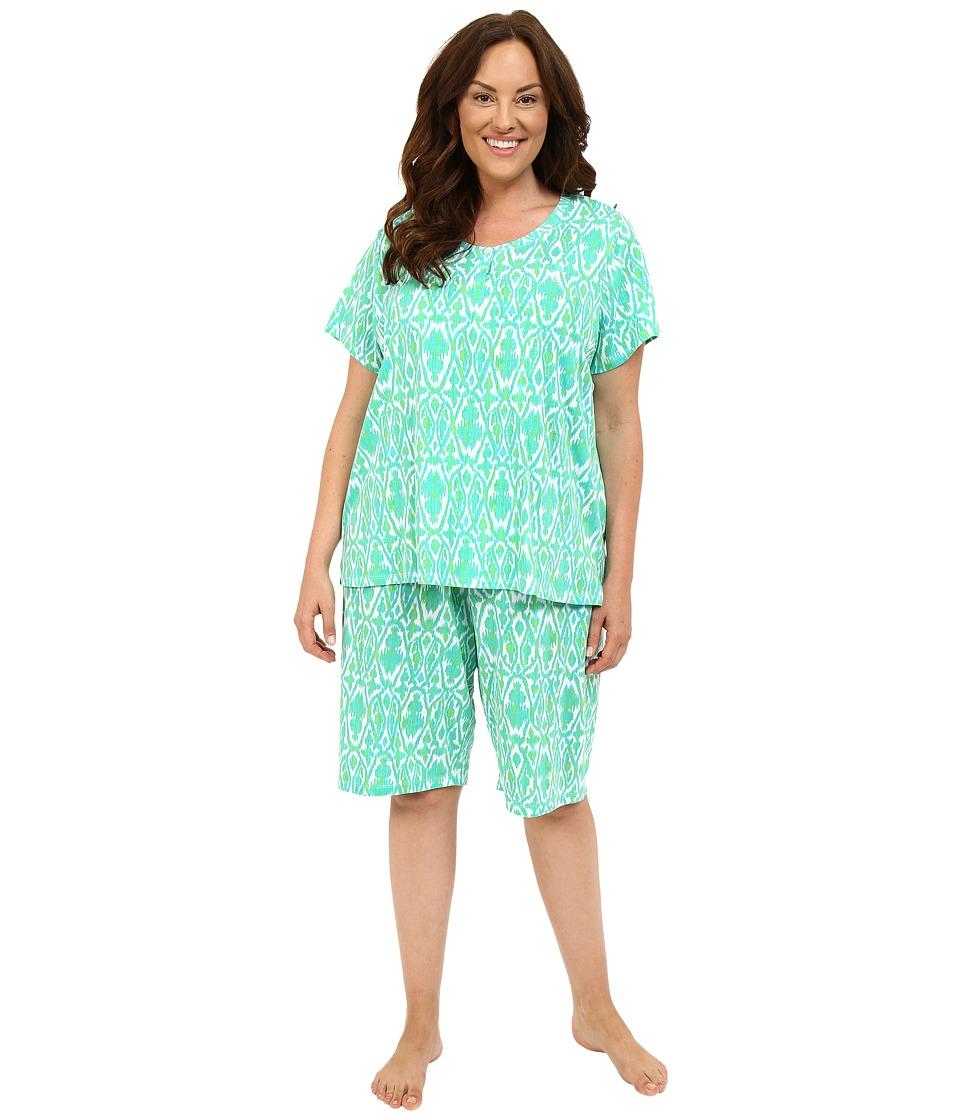 LAUREN Ralph Lauren - Plus Size Bermuda PJ Set (Ikat Blue/Green) Women's Pajama Sets plus size,  plus size fashion plus size appare