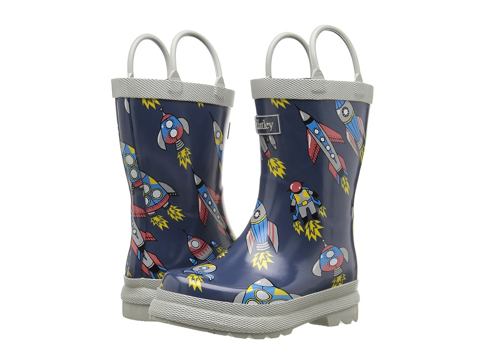 Hatley Kids Retro Rocket Rainboots (Toddler/Little Kid) (Grey) Boys Shoes