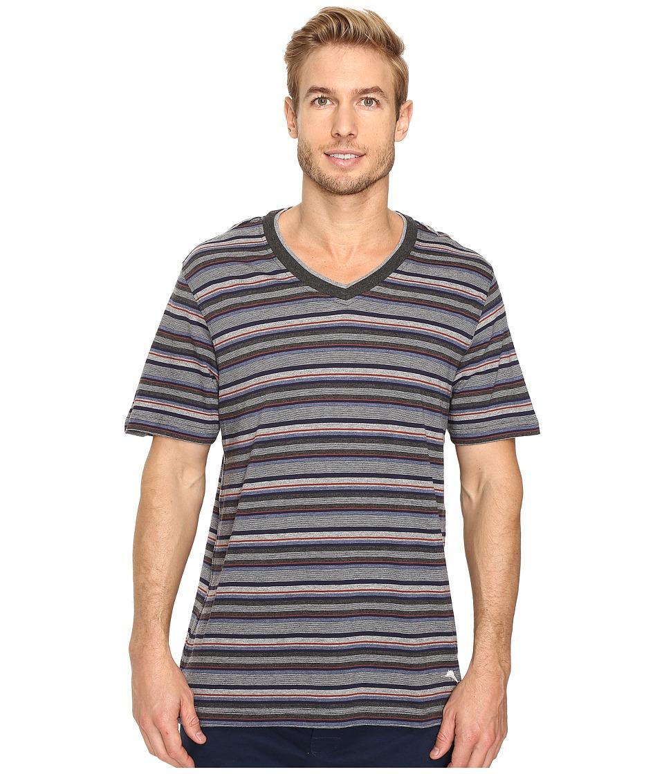 Tommy Bahama Yarn-Dye Cotton Modal Jersey V-Neck Tee (Sail Striped Heather Multi) Men