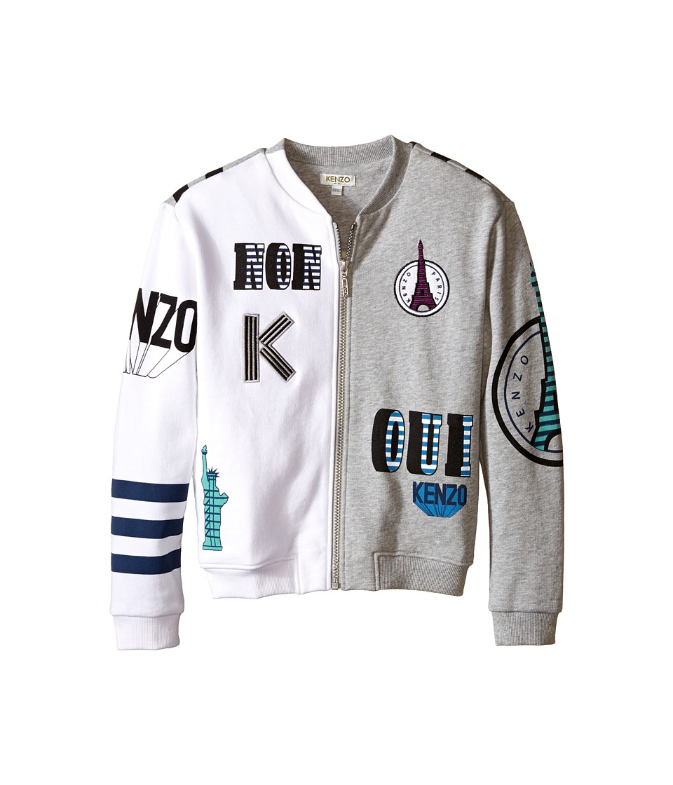 Kenzo Kids All Over International Cardigan Little Kids/Big Kids Grey Chine Girls Coat