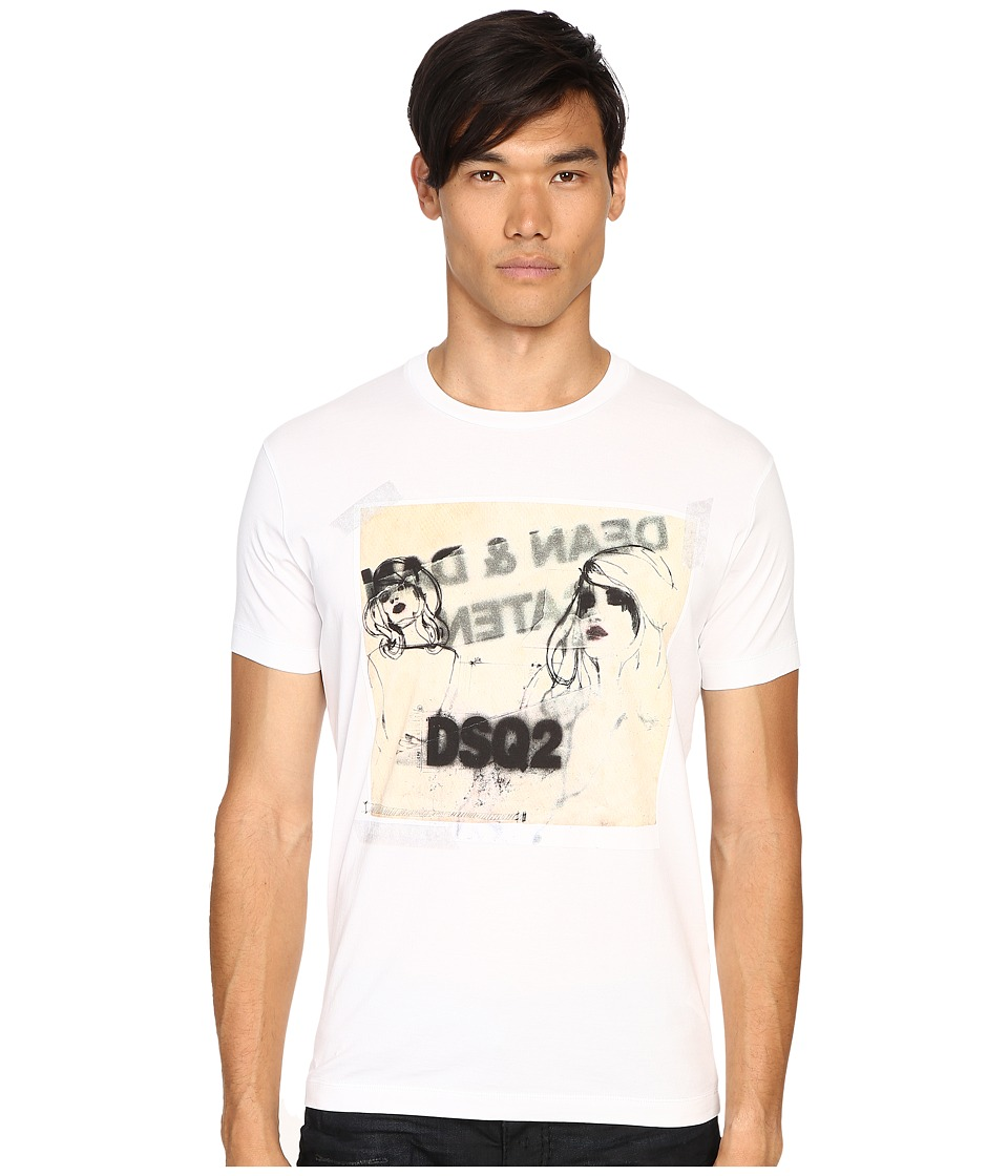 DSQUARED2 - Chic Dan Fit Soft Print T-Shirt (White) Men